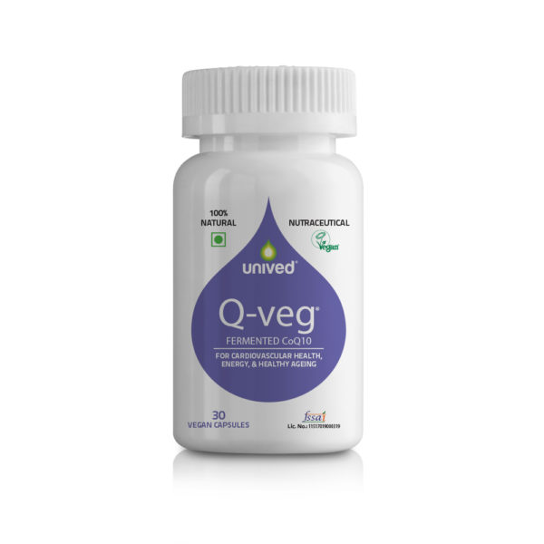 Coenzyme Q10 Supplements - Unived Q-veg 30 Vegan Capsules, Fermented CoQ10 with Piperine, Bio-Available