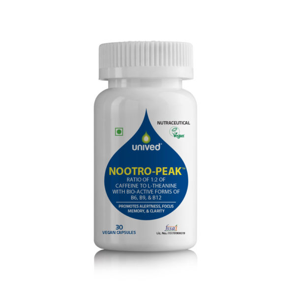 Nootro-Peak - Natural Nootropic Supplements with L-Theanine, Caffeine, and active Vitamins B12, B9, & B6