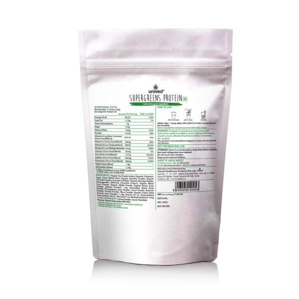 Unived Supergreens Protein Vegan Nutrition Nutritional Facts