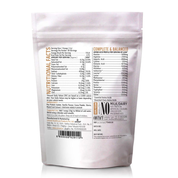 India-Unived-Lean-Vegan-Pea-Protein-Powder-Coco-Vanilla-30-servings-Back