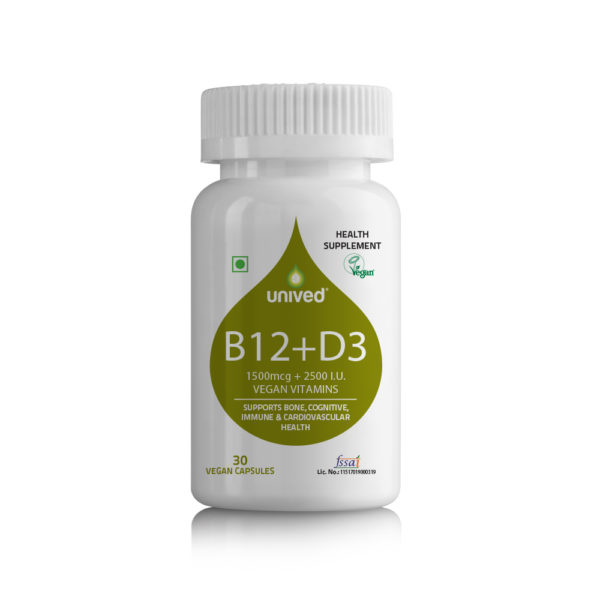 Vitamin B12 Capsules - B12+D3, Vegan Vitamins B12 & D3 with Folate, 30 Vegan Capsules