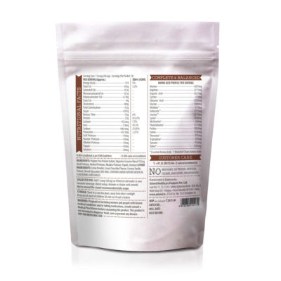 Unived Vegan Pea Protein Isolate Chocolate Nutrition Details