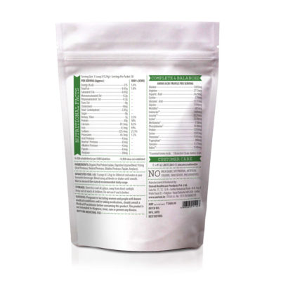Unived Organic Pea Protein Nutrition Details